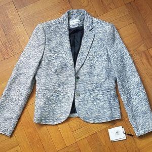 NWT Calvin Klein Striped Blue-Silver Knit Blazer